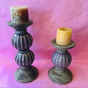 Vintage Accents - Vintage purple ceramic candle holders